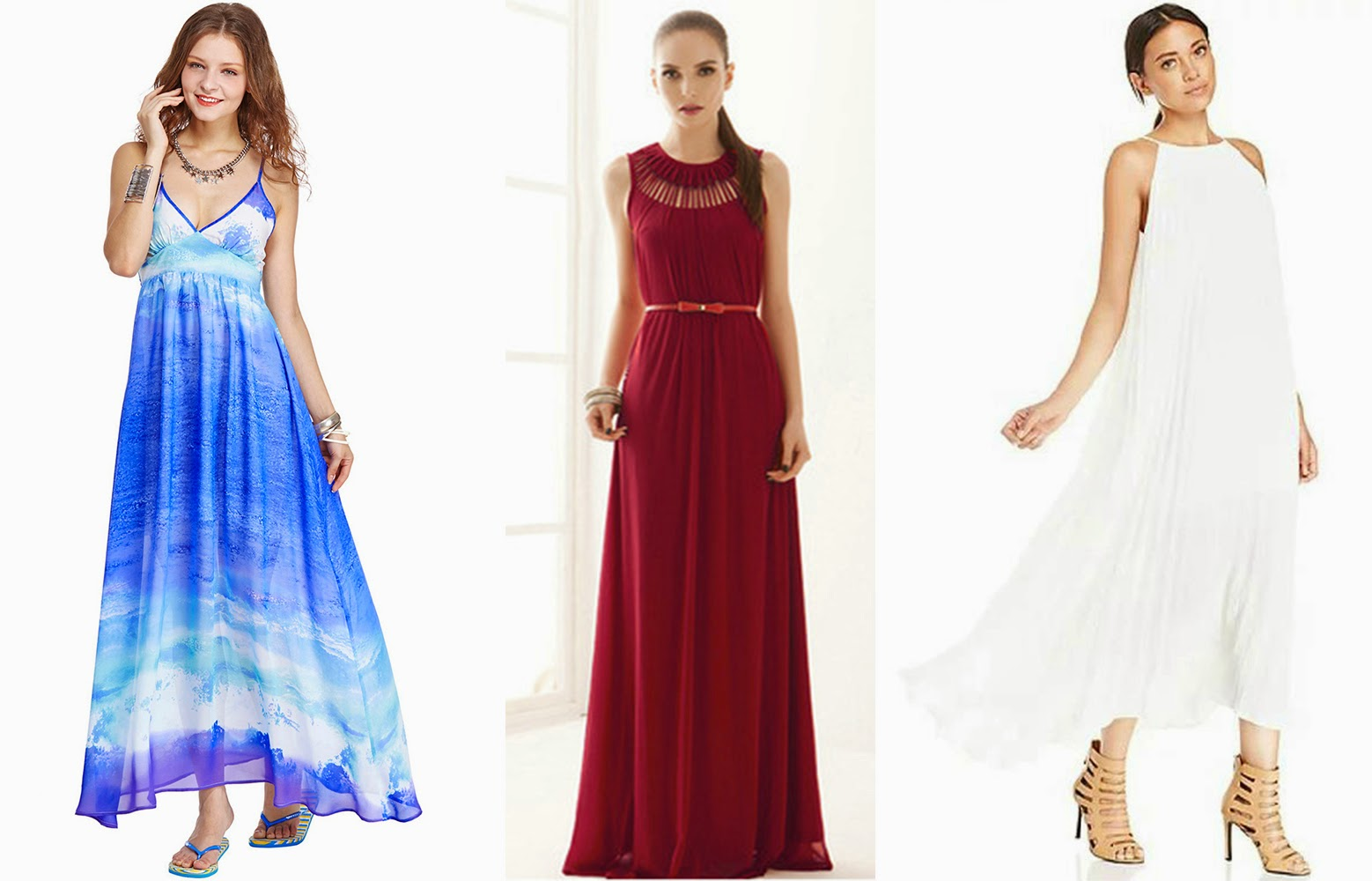 (L-R) Seawater Print Blue Camisole Dress, Sleeveless With Belt Hollow Maxi Dress, Off-shoulder Pleated Maxi White Dress