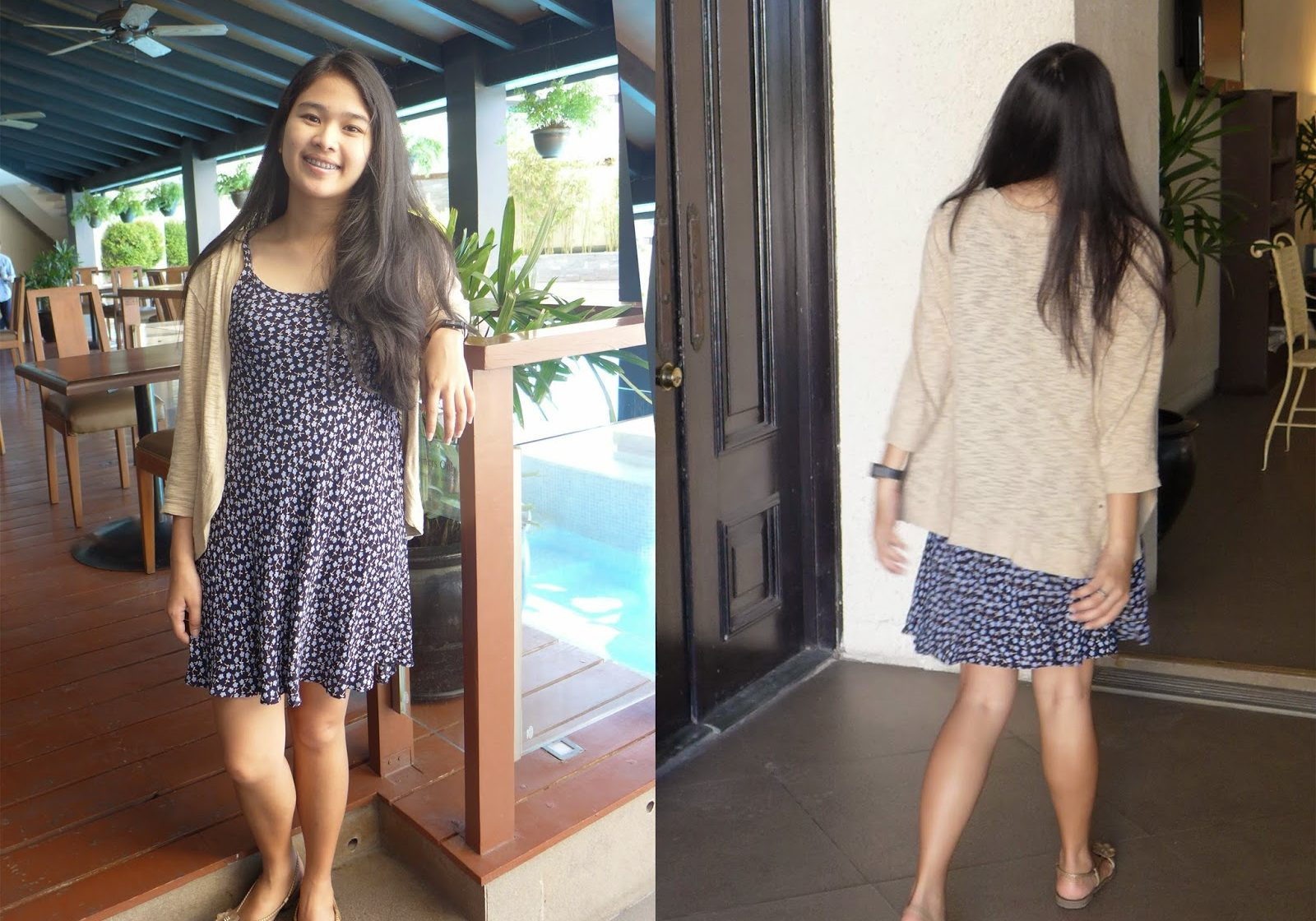 Dress: Marks & Spencer (old) |  Cardigan: Thrifted | Sandals: Grendha (old)  similar here | Watch: Casio (available at Zalora)